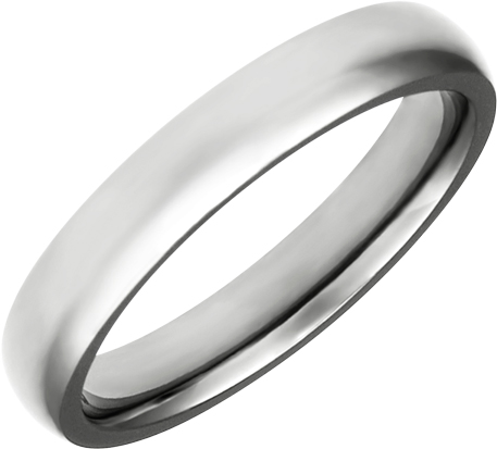 JCX309094: High Polished 4mm Titanium Comfort Fit Band.  Available Full or Half Size 5.5-15