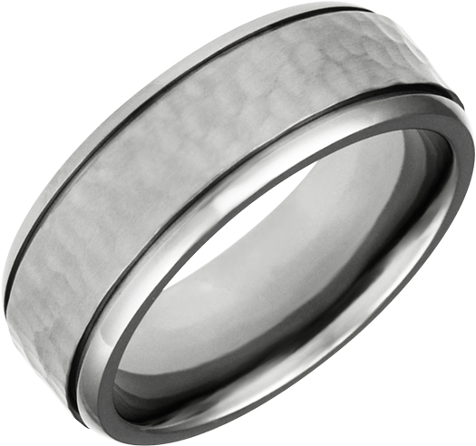 Nugget Finished, Titanium Band 8mm Wide, Comfort Fit.  Available Full or Half...
