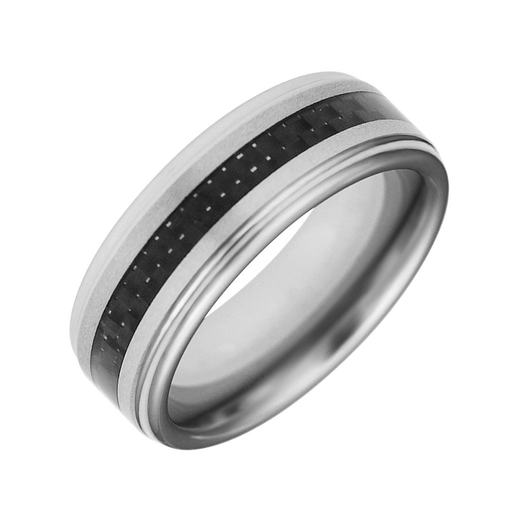 JCX308449: Cobalt White (Chrome) Band with Carbon Fiber Inlay.  8mm Wide, Comfort Fit.  Available Full or Half Sizes 6.5-15