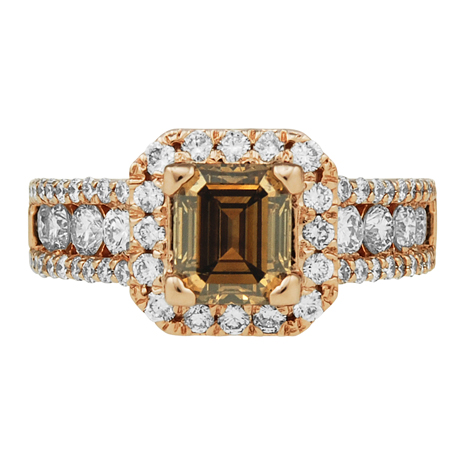 2.76CTTW, 14kt Rose Gold Chocolate & White Diamond Ring.  Chocolate Diamond 1.55ct, White Accent ...