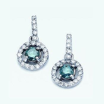 14kt Blue Diamond Earrings; .00cttw Blue  Diamonds; Total Diamond Weight .78c...