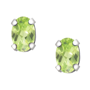 August Birthstone; 6x4 oval simulated checkerboard cut Peridot sterling silve...