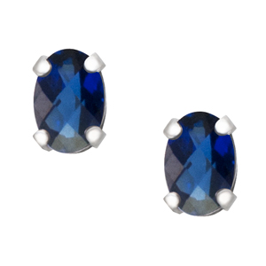 JCX302481: September Birthstone; 6x4 oval simulated checkerboard cut Blue Sapphire sterling silver earrings.
