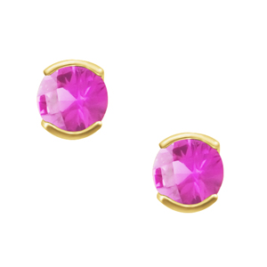 'October Birthstone'' 14KT 4mm Lab Created Pink Sapphire earrings; available in white or yellow gold.