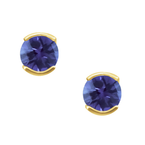 'June Birthstone'' 14KT Lab Created Alexandrite earrings; available in white or yellow gold.
