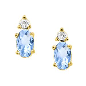 Genuine Aquamarine ''March Birthstone'' and .04cttw Diamond E...