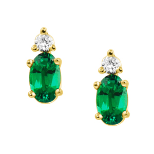 Lab Created Emerald ''May Birthstone'' and .04cttw Diamond Ea...