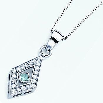 Blue Diamond Pendant; Princess Cut Blue Diamond Surrounded by Round Brilliant...