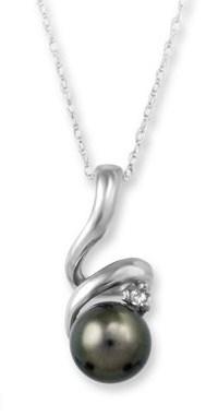 Pearl and Diamond Pendant.  6.5-7mm Black Pearl & Diamond 10kt Pendant with 18'' Rope Cha...