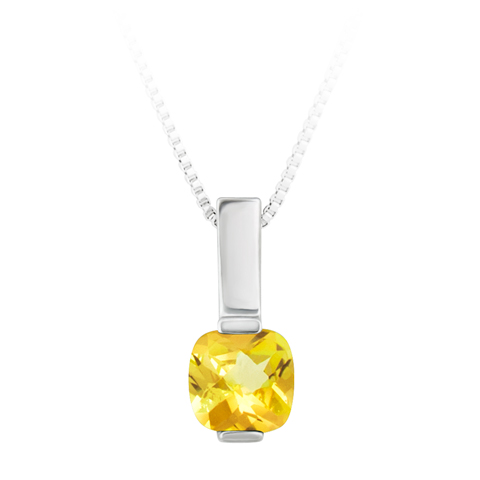 JCX302418: Sterling Silver Pendant with simulated 6x6 cushion checkerboard cut citrine  ''November Birthstone'' with 18'' SS Box Chain.