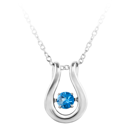 'Dancing December Birthstone''; constant twinkling movement of swiss blue color cubic zirconia set in sterling silver and furnished with an 18'' chain.