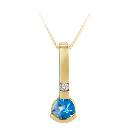 Genuine 4mm round Blue Topaz ''December Birthstone'' and .02ct Diamond Pendant se...