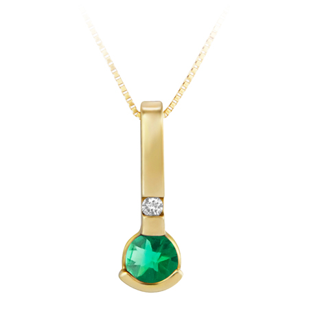 Lab Created 4mm round Emerald ''May Birthstone'' and .02ct Diamond Pendant set in...