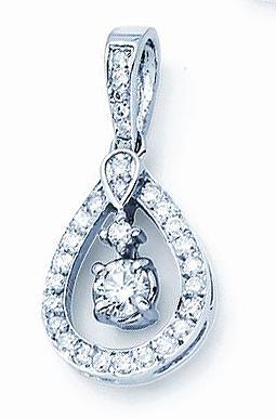 14kt Diamond Pendant; .75cttw; 3/8ct Diamond Center with .36cttw Accent Diamo...