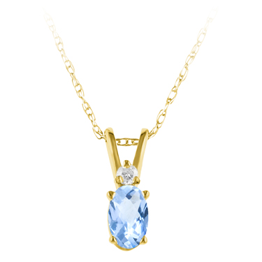 Genuine Aquamarine ''March Birthstone'' and Diamond Pendant set in 14kt yellow go...