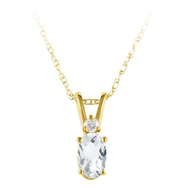 GenuineWhite Topaz ''April Birthstone'' and Diamond Pendant s...