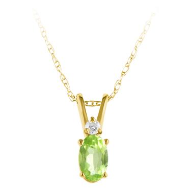 Genuine Peridot ''August Birthstone'' and Diamond Pendant set in 14kt yellow gold...