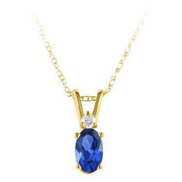 Lab Created Blue Sapphire ''September Birthstone'' and Diamon...