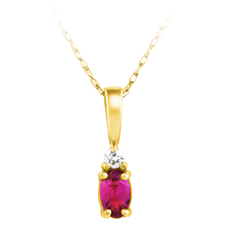 Lab Created Ruby ''July Birthstone'' and .03ct  Diamond Pendant set in 14kt yello...
