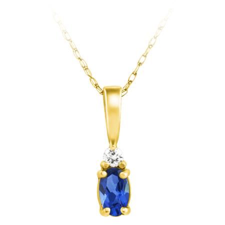 Lab Created Blue Sapphire ''September Birthstone'' and .03ct Diamond Pendant set ...