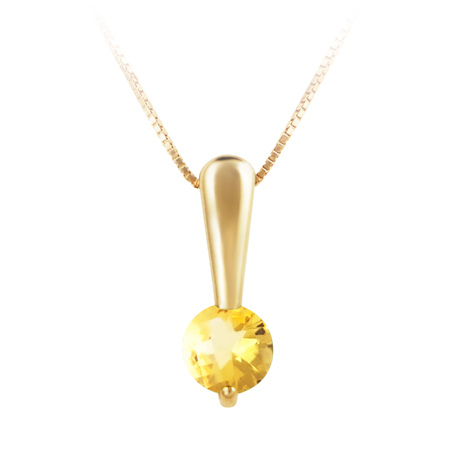 Genuine 5mm round citrine ''November  Birthstone'' set in 10kt yellow gold pendant and  furnished with 18'' 10kt rope chain.