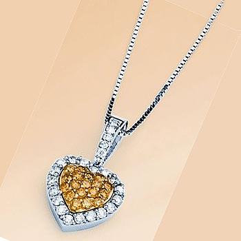 1/2cttw 14kt Two Tone Yellow & White Diamond Pendant.  Yellow Diamonds 1/4cttw; White Diamonds 1/4cttw.  Includes Chain