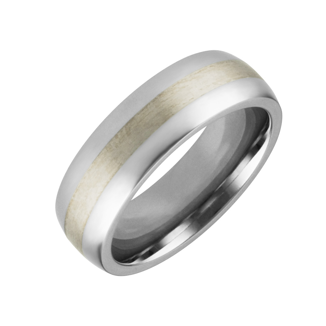 Mens & Ladies ''Cobalt White'' 7mm Chrome High Polished Band with Brushed Finish Center; Comfort Fitting.  Available in full or half sizes 6.5-15.