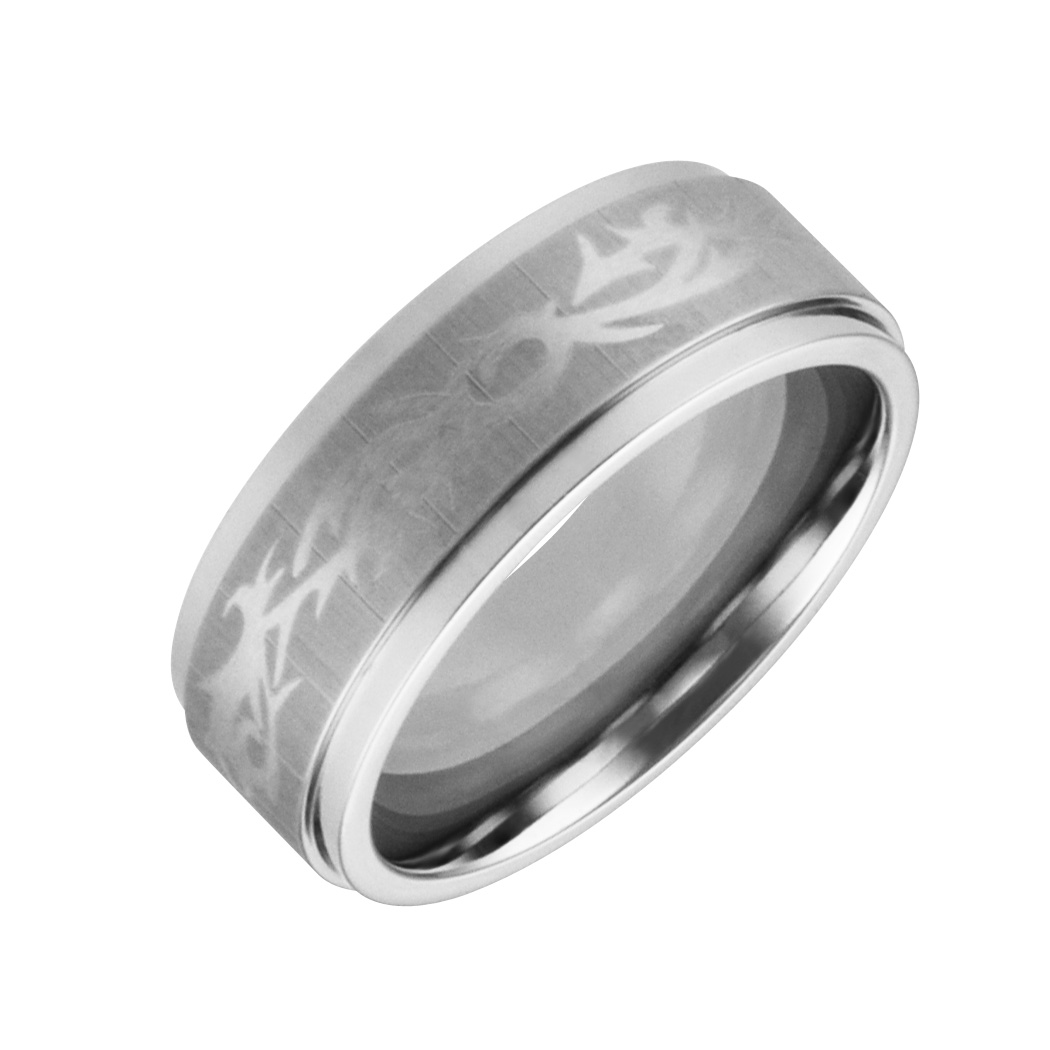 JCX308443: Mens & Ladies ''Cobalt White'' 8mm Chrome Designer Finished; Comfort Fitting Band.  Available in full or half sizes 6.5-15.