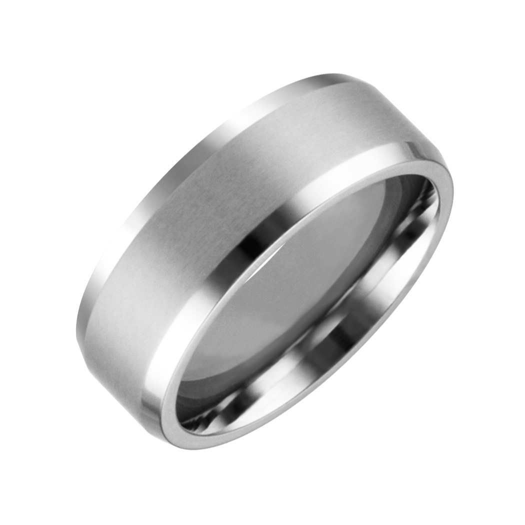 JCX308444: Mens & Ladies ''Cobalt White'' 8mm Chrome Brushed Finished with High Polished Beveled Edge; Comfort Fitting Band.  Available in full or half sizes 6.5-15.