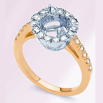 18kt Two Tone Diamond Semi Mount; Diamond Total Weight .55cttw; Made to Hold ...