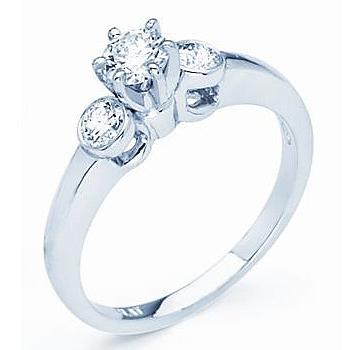 Three Stone Diamond Ring; 0.62cttw Total Diamond Weight.  0.36ct Round Brilliant Center Diamond w...