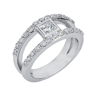14kt Diamond Fashion Ring; 3/8ct Princess cut center with 26 round .02ct diamonds; Diamond Total ...