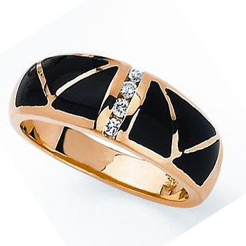 14kt Onyx & Diamond Ring .10cttw.  Also available with opal.