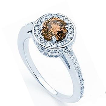 Chocolate Diamond Ring.  1.02 Round Chocolate Diamond with .60cttw Round Accent Diamonds.  Diamon...