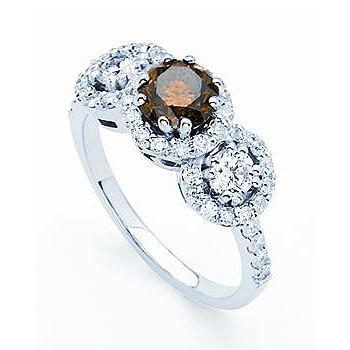 14kt Chocolate Diamond Ring.  .45ct Chocolate Diamond; with .61cttw Side Diam...
