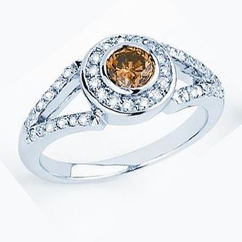 14kt Chocolate Diamond Ring; Center Diamond .31ct.; with .25cttw side diamond...