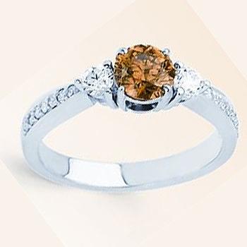 14kt Chocolate Diamond Ring; Center Diamond .61ct.; two round dia's .22ct...