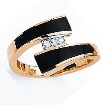 14kt Black Onyx & .05cttw Diamond Bypass Ring.  Also available with opal (same price)