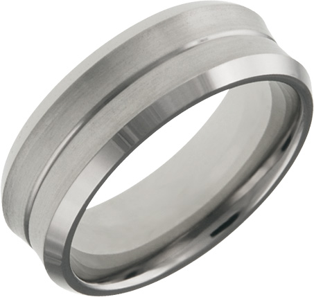 JCX308551: Mens and Ladies Titanium Bands; 7mm Comfort Fit; Satin Finished Center Polished Beveled Edge; Available in Full or Half Sizes 6.5-15