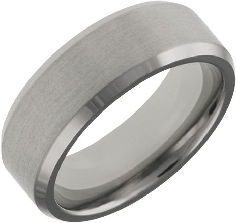 Mens and Ladies Titanium Bands; 7mm Comfort Fit; Satin Finished Center Polished Beveled Edge; Available in Full or Half Sizes 6.5-15