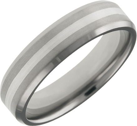 Mens and Ladies Titanium Bands; 5mm Comfort Fit; Silver Center Inlay; Available in Full or Half Sizes 6.5-15