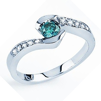 14kt Blue Diamond Fashion Ring; Blue Round Brilliant Center Diamond 1/4ct wit...