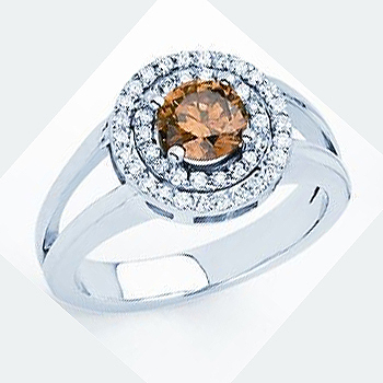 14kt Chocolate Diamond Ring; Center Diamond 1.01ct.; with .28cttw side diamon...