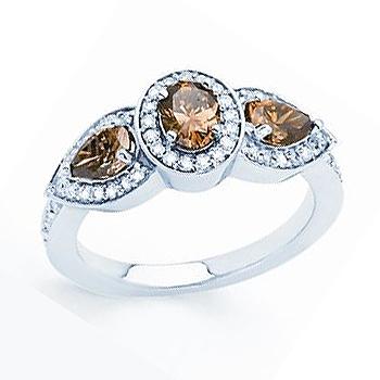 14kt Chocolate Diamond Ring; Three Center Chocolate Diamonds .83cttw; with .2...