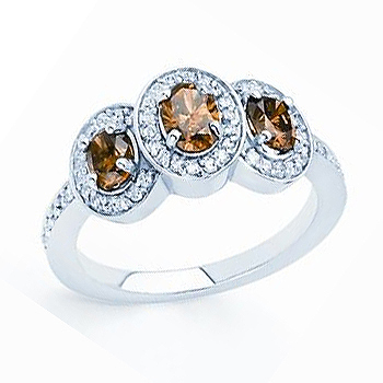 14kt Chocolate Diamond Ring; Three Center Chocolate Diamonds 1.00cttw; with ....