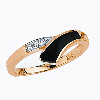 14kt Black Onyx & Three Diamond Ladies Ring.  Also available with opal (same price)