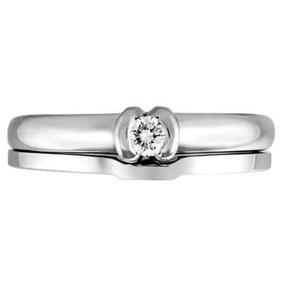 JCX308436: 'Forever Yours Collection'' 14kt Diamond Bridal Set; Engagement Ring with .10ct Round Brilliant Diamond in Half Bezel Setting and Matching Shadow Band.