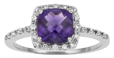 Checkerboard Cut Amethyst 7mm Cushion Cut Surrounded by 1/4cttw of Round Bril...