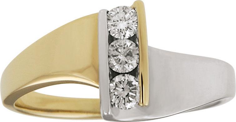 10kt Two Tone Three Stone Diamond Ring; 1/4cttw Total Diamond Weight.