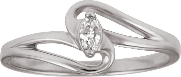 10kt Marquise Cut Diamond Promise Ring; .07ct Diamond